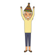 elderly woman grandma with party hat and arms up vector illustration