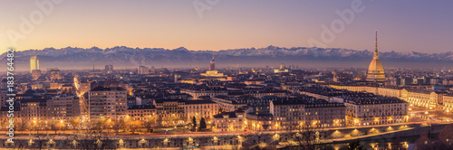 Photo sur Toile Lavende Turin, Italy: cityscape at sunrise with details of the Mole Antonelliana of Torino