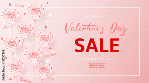 9f1e54fb96b26 Web Banner for Valentine's Day Sale. Beautiful Background with ...