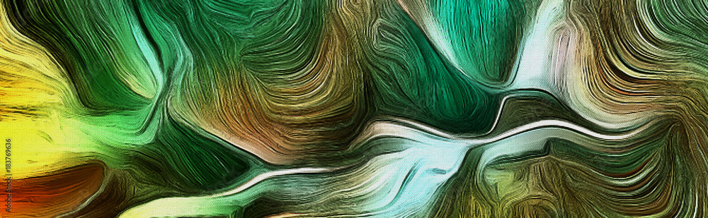 Fototapeta Fluid lines of green colors movement