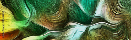 Fluid lines of green colors movement