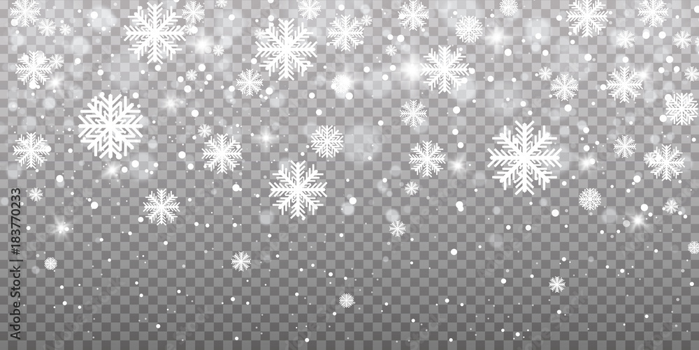 Fototapeta Falling snow on a transparent background. Vector illustration 10 EPS. Abstract snowflake background. Fall of snow.