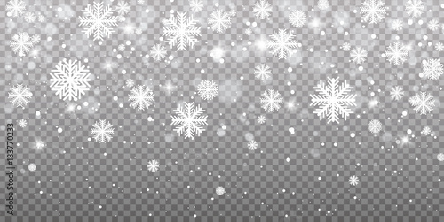 Falling snow on a transparent background. Vector illustration 10 EPS. Abstract snowflake background. Fall of snow.