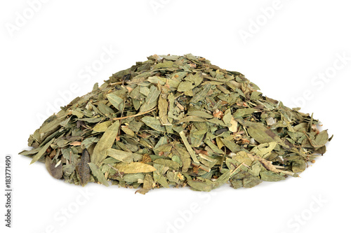 Carta da parati  Constipation and laxative herb mixture used in alternative herbal medicine with senna leaf, fennel, elder and lime flowers on white background