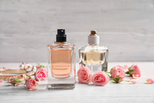 Bottles Of Perfume With Flower...