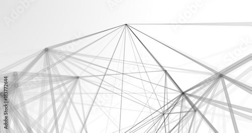 Stampa su Tela Abstract polygonal space low poly white background with connecting dots and lines