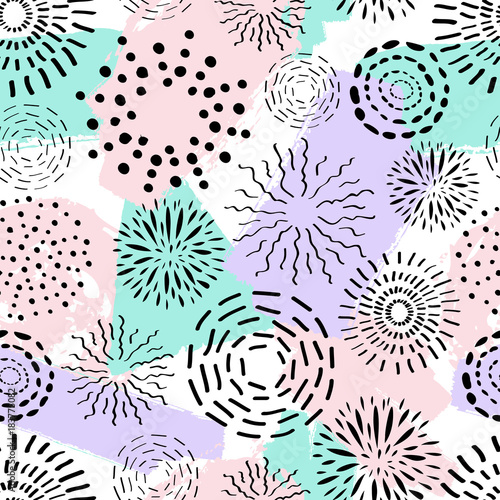 Foto op Aluminium Retro sign Vector seamless pattern with different ink circles and brush painted elements. Abstract trendy background with fireworks.