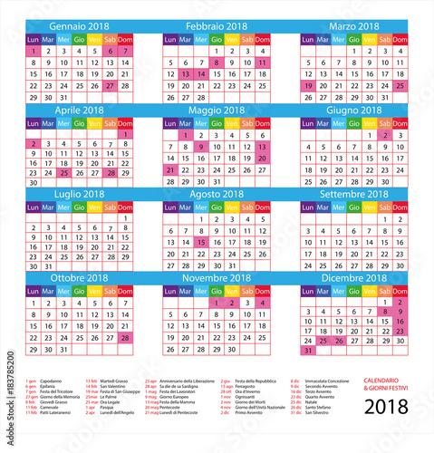 Calendario Con Giorni Festivi.Calendario Italiano Con Giorni Festivi Per Il 2018 Buy