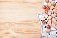Bingo Lotto On Wooden Backgrou...