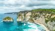 Timelapse Rocky coast with big waves at Atuh beach on Nusa Penida island, Indonesia