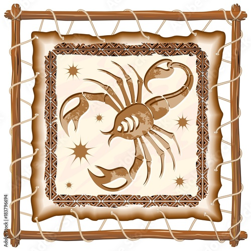 Foto op Canvas Draw Scorpius Zodiac Sign on Native Tribal Leather Frame