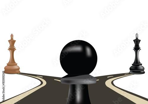 Fotografie, Obraz pedone nero su una biforcazione stradale scelta