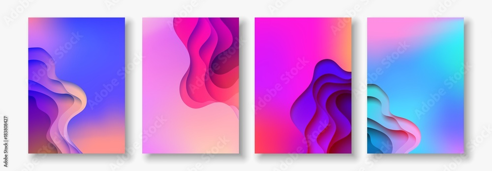 Fototapety, obrazy: A4 abstract color 3d paper art illustration set. Contrast colors. Vector design layout for banners, presentations, flyer