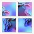 Square abstract color 3d paper art illustration set. Contrast colors. Vector design layout for banners, presentations