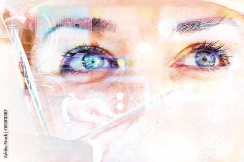 Fototapety, obrazy: Fintech Investment Financial Technology Concept. P2P Payment concept image.Startup and crowd funding concept. Ai stock market graph. Double exposure of business man using tablet and woman eyes.