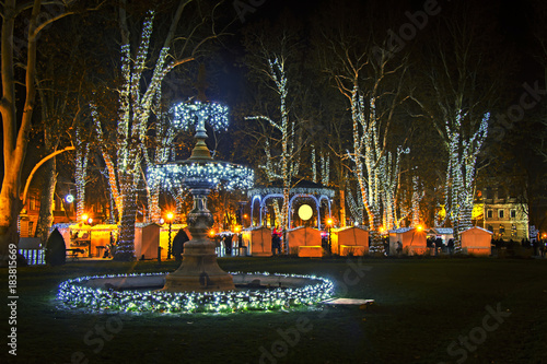 Zrinjevac park decorated by Christmas lights as part of Advent in Zagreb