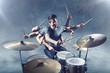 canvas print picture - Schlagzeug spielen mit vielen Armen