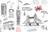 Fototapeta Londyn - London symbols. Vector hand drawn illustration