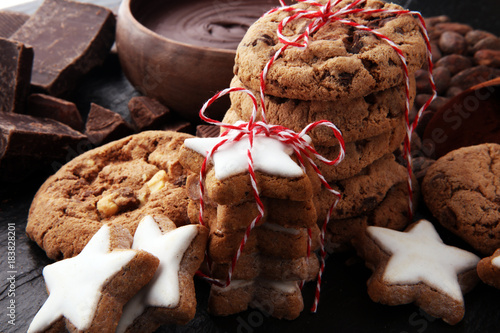 Aluminium Prints Old abandoned buildings Christmas homemade gingerbread cookies star shaped on dark table
