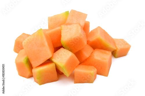 Cantaloupe melon slices on white background Tapéta, Fotótapéta