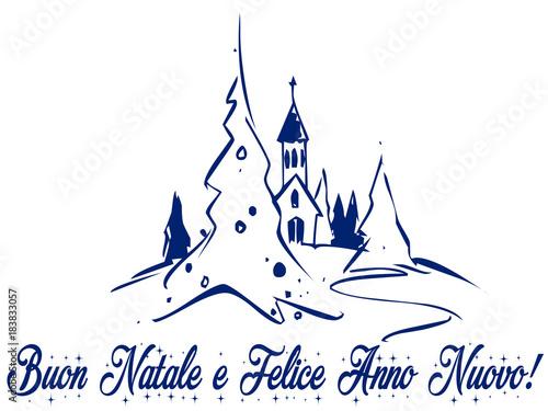 Cartoline Buon Natale E Felice Anno Nuovo.Buon Natale E Felice Anno Nuovo Cartoline Di Auguri Stock Illustration Adobe Stock