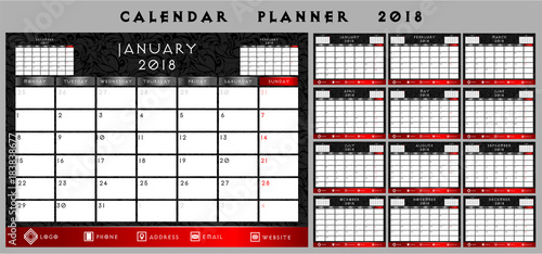 Foto  Calendar planner in a dark, Gothic, vintage black and red style