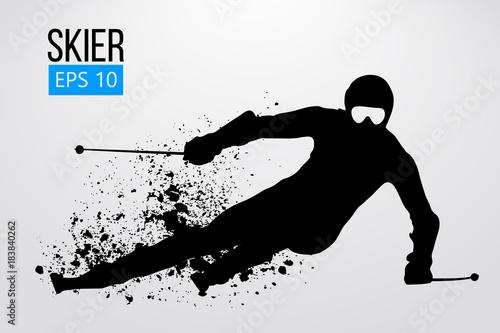 Fotomural Silhouette of skier isolated. Vector illustration