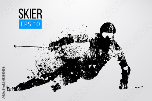 Fotografía  Silhouette of skier isolated. Vector illustration