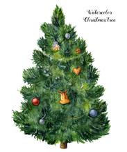 Watercolor Christmas Tree. Han...