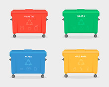Garbage Containers. Green, Red, Yellow, And Blue Trash Dumpster For Trash, Like Paper, Glass, Plastic, And Food Waste. Illustration Isolated On White Background. Trash Recycling Concept