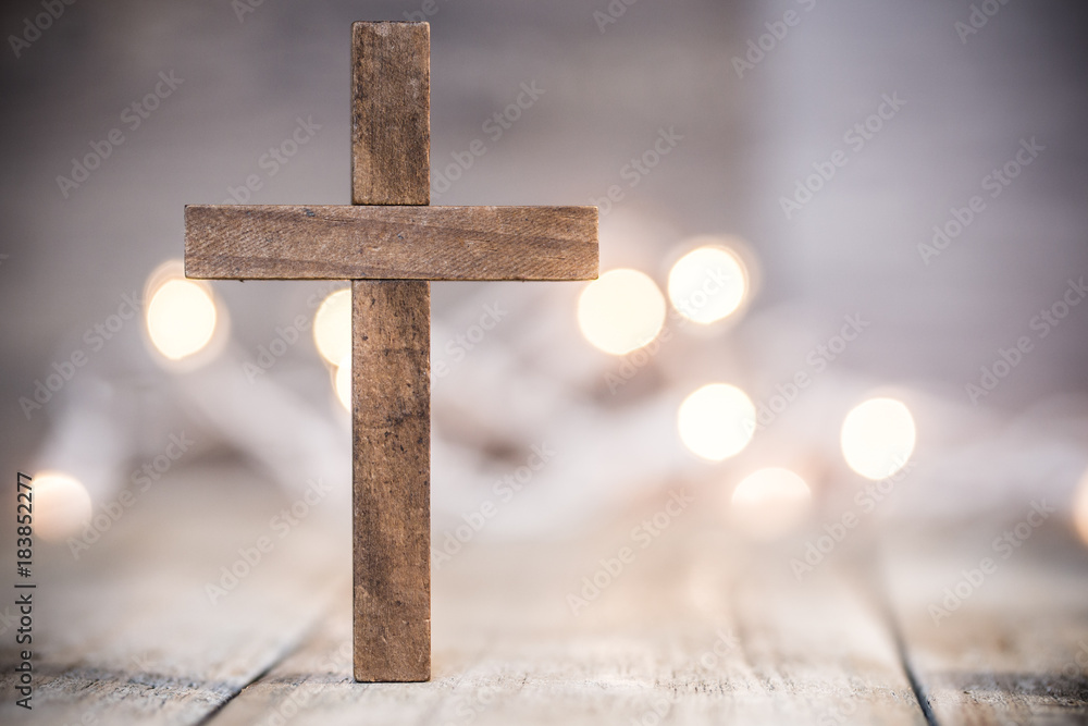 Fototapeta Christian Cross on a Soft Bokeh Background