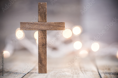 Christian Cross on a Soft Bokeh Background