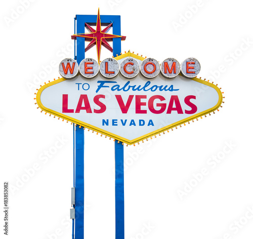 The fabulous Welcome Las Vegas sign. Isolated on white background