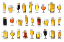 Set Of Various Full Beer Glass...
