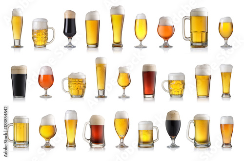 Poster Biere, Cidre Set of various full beer glasses. Isolated on white background