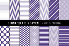 Ultra Violet Polka Dot, Chevron And Diagonal And Horizontal Stripes Vector Patterns. 2018 Color Of The Year. Modern Minimal Backgrounds. Various Size Spots And Lines. Tile Swatches Included.