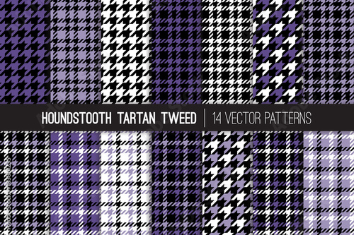 Photo  Ultra Violet Houndstooth Tartan Tweed Vector Patterns