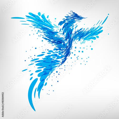 Blue fantasy bird Wall mural