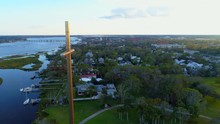 Aerial Pull Out Shot The Great Cross St Augustine FL 4k 24p
