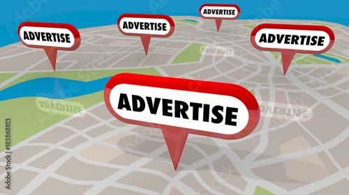 Fotografía  Advertise Pins on Map Marketing Promotion 3d Illustration