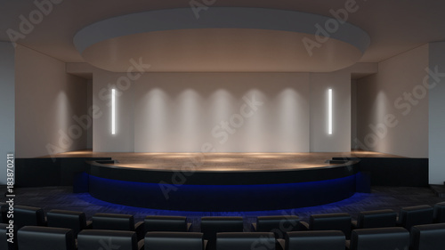 Stage mock up 3d rendering. empty wall screen template Canvas Print