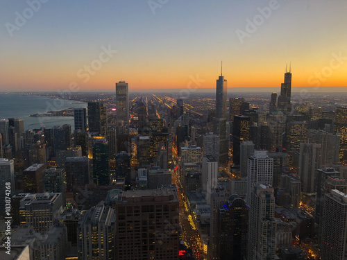 f811884a5c1 Chicago skyline from above at sunset - Buy this stock photo and ...
