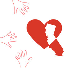Support Illustration For Charity Donation And Relief Work After Wildfires In Southern California, Los Angeles County. Helping Hands, Heart Shape And California Map Silhouette.