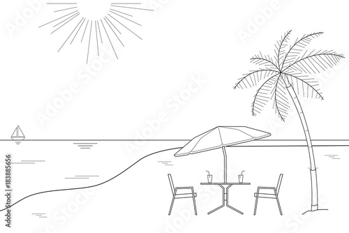 Black And White Outline Drawing Of A Striped Beach Umbrella The Two Wooden Chairs On
