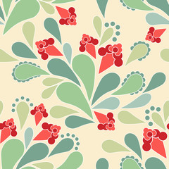 Seamless floral abstract folk pattern on beige