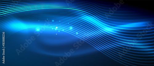 Fototapeta Glowing abstract wave on dark, shiny motion obraz na płótnie