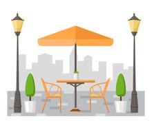 БезыSummer Street Cafe. Table And Chairs Under The Umbrella. Flat Design. Vector Illustration.мянный-4