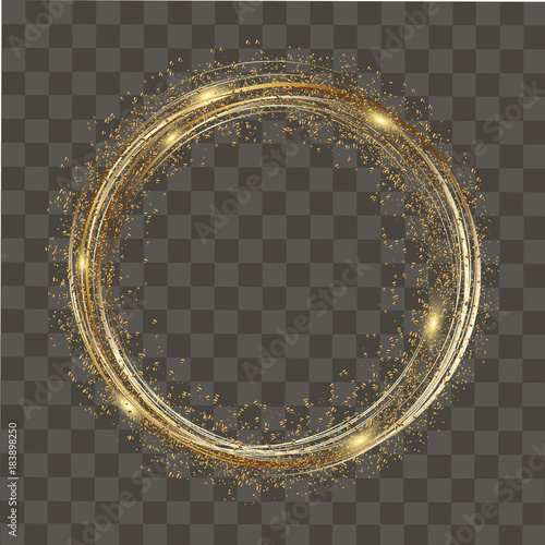 Carta da parati Abstract round glowing lights and gold sparkles on transparent background