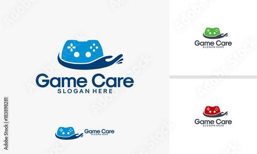 game care logo designs vector game controller logo template buy