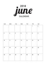June 2018 Calendar Planner Vec...